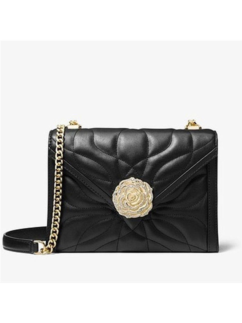 MICHAEL Michael Kors Whitney Large Petal Quilted Leather Convertible Shoulder Bag Black