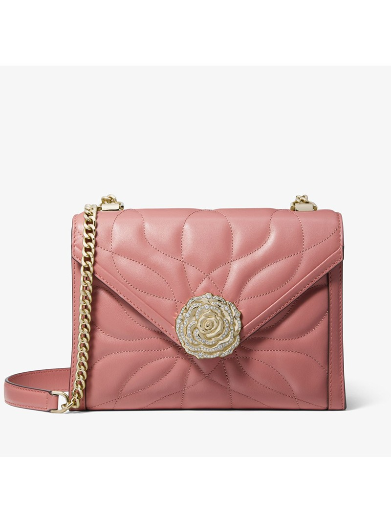 MICHAEL Michael Kors Whitney Large Petal Quilted Leather Convertible Shoulder Bag Pink