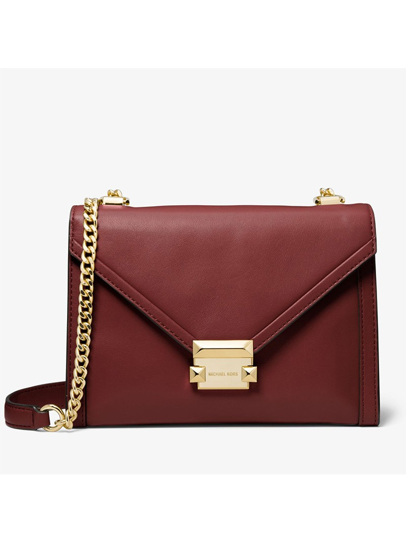 MICHAEL Michael Kors Whitney Large Leather Convertible Shoulder Bag Burgundy