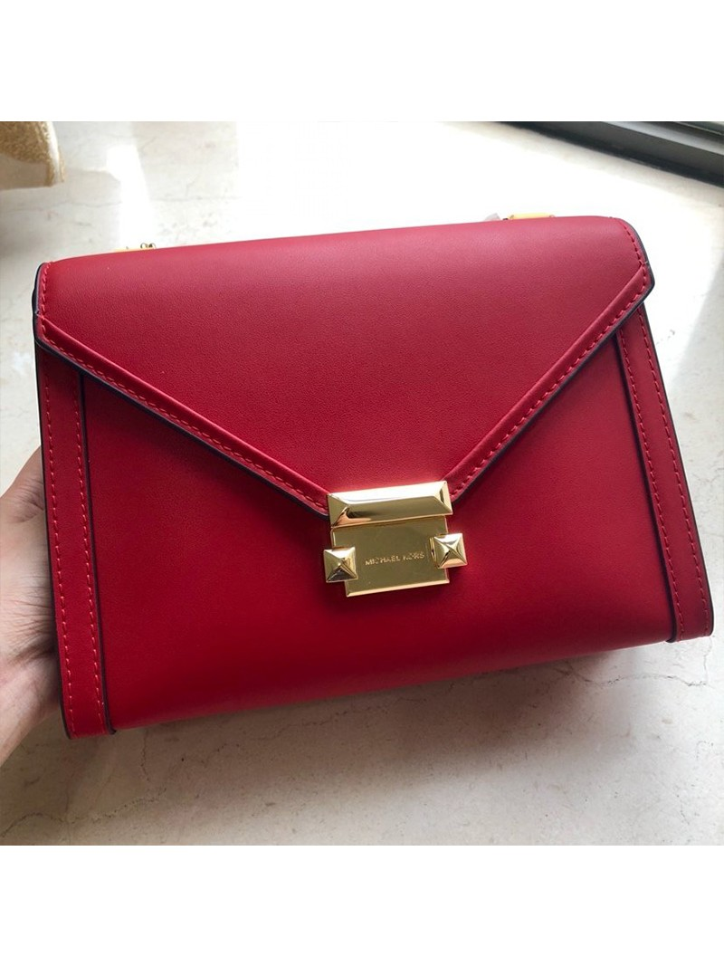 MICHAEL Michael Kors Whitney Large Leather Convertible Shoulder Bag Red