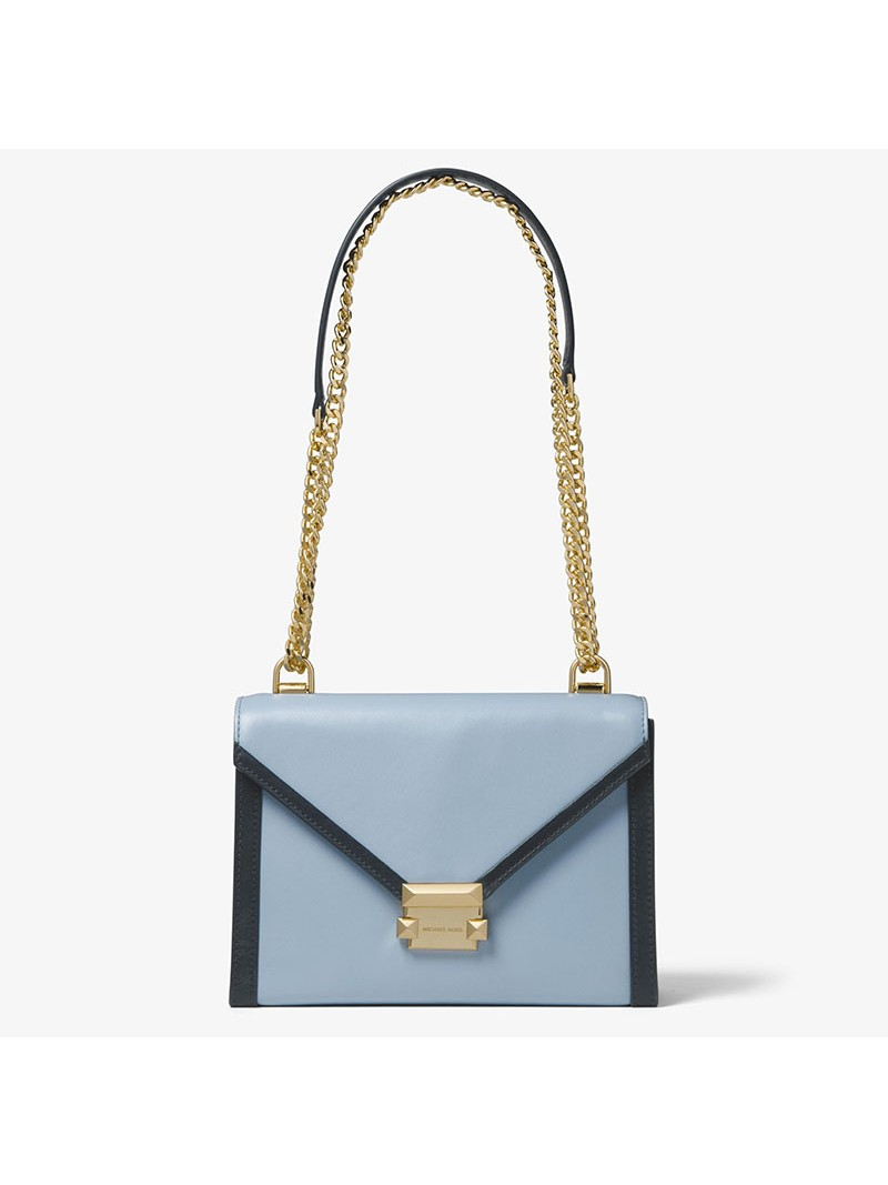 MICHAEL Michael Kors Whitney Large Leather Convertible Shoulder Bag Sky Blue