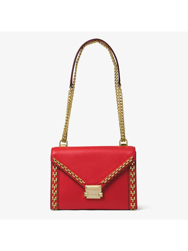 MICHAEL Michael Kors Whitney Large Stud Leather Convertible Shoulder Bag Red