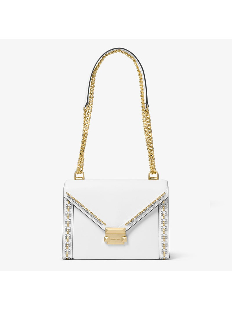 MICHAEL Michael Kors Whitney Large Stud Leather Convertible Shoulder Bag White