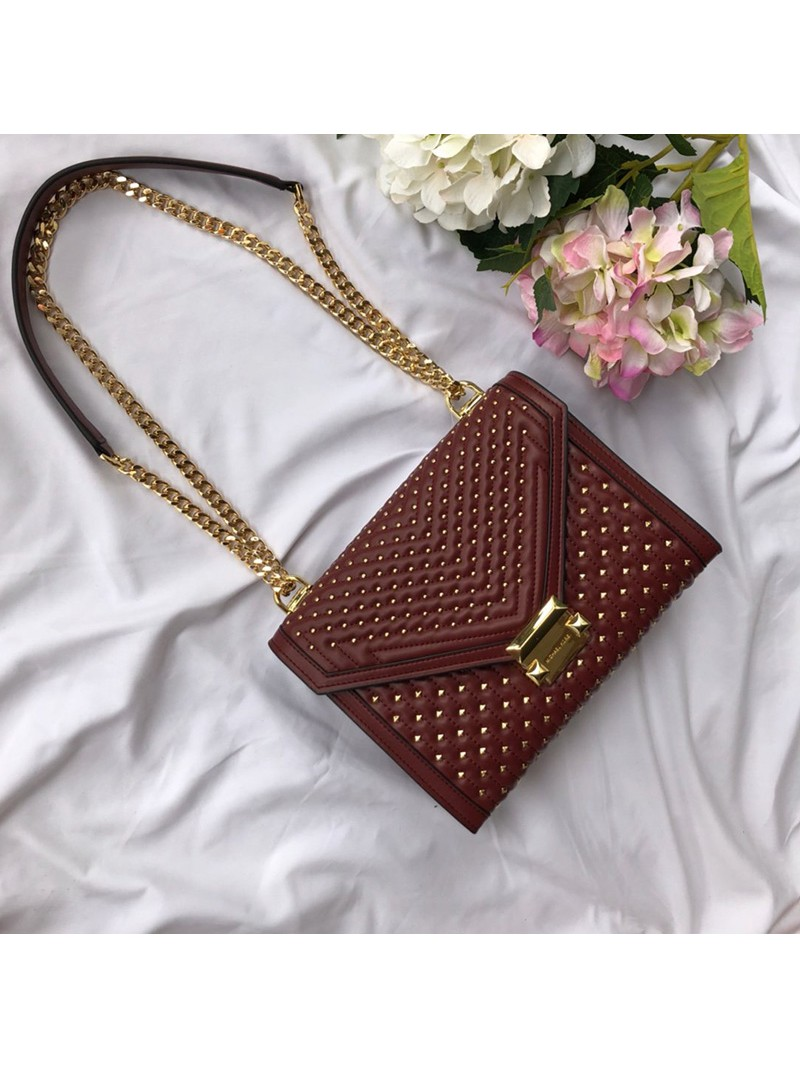 MICHAEL Michael Kors Whitney Large Studded Leather Shoulder Bag Burgundy
