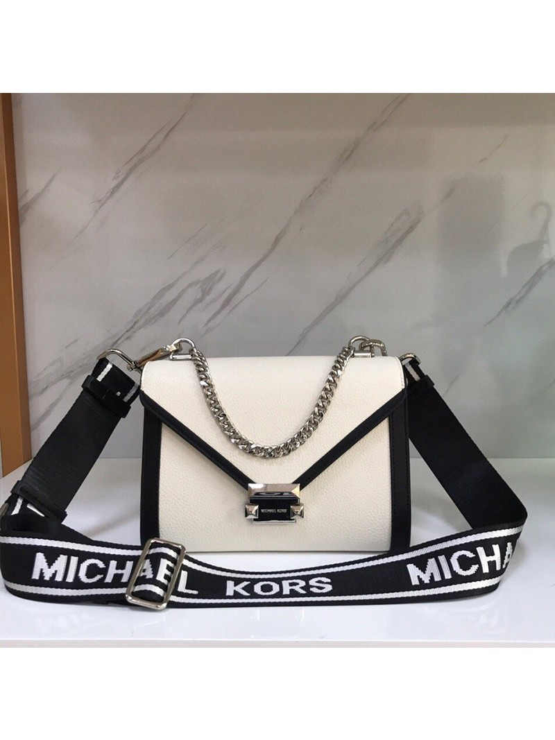 MICHAEL Michael Kors Whitney Medium Leather Shoulder Bag White