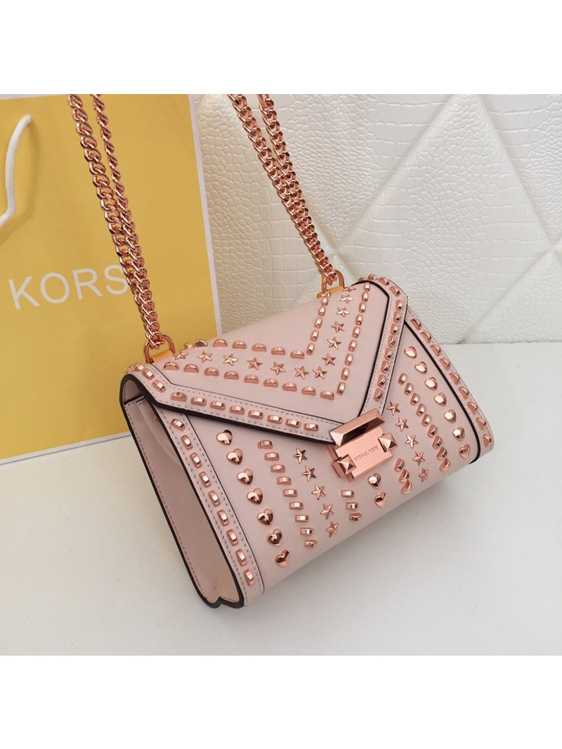 MICHAEL Michael Kors Whitney Medium Studded Leather Shoulder Bag Pink