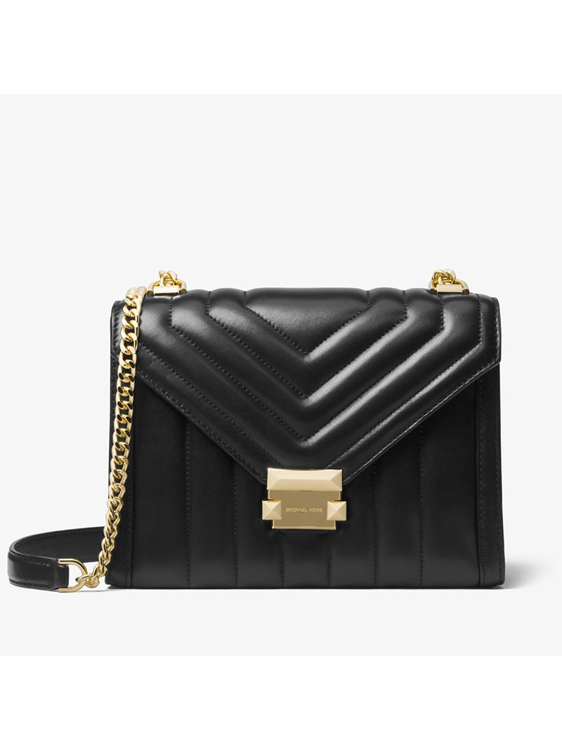 MICHAEL Michael Kors Whitney Quilted Leather Convertible Shoulder Bag Black