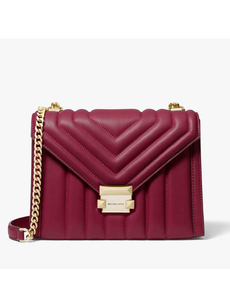 MICHAEL Michael Kors Whitney Quilted Leather Convertible Shoulder Bag Burgundy