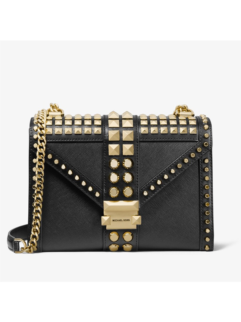 MICHAEL Michael Kors Whitney Large Studded Saffiano Leather Convertible Shoulder Bag Black