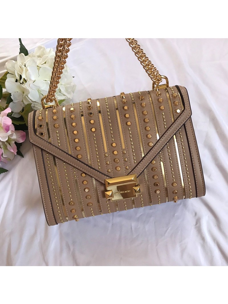 MICHAEL Michael Kors Whitney Large Studded Leather Convertible Shoulder Bag Apricot